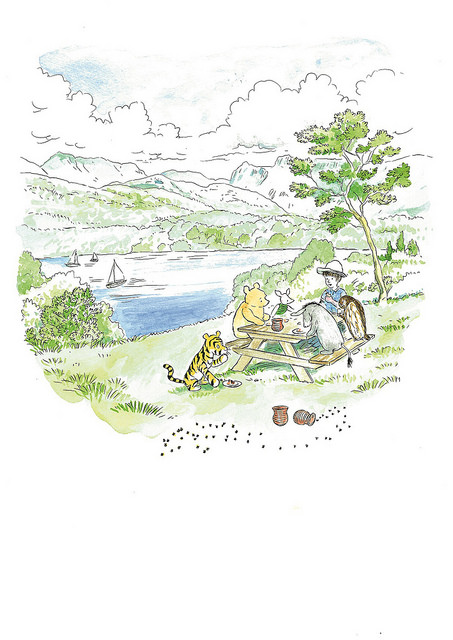 ''Picnicking on the shores of Windermere in the Lake District, Cumbria''