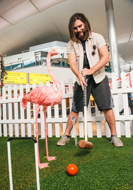 Crazy Croquet lawn unveiled at Terminal 2 at Heathrow Airport, London, Britain - 08 Jul 2015