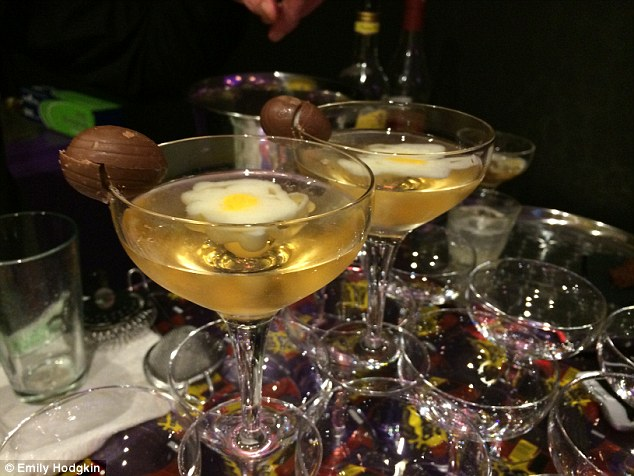 The 'eggtini' – a lethal concoction of rum, Disaronno and chocolate liqueur with a pretty meringue egg fondant
