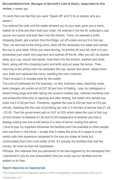 Over-priced and very rude staff - Bennett's Cafe  amp; Bistro, York Traveller Reviews - TripAdvisor