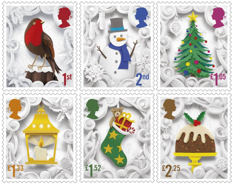 Royal Mail undated handout photo of the six 2016 Christmas Special stamps which were crafted by Manchester based artist, Helen Musselwhite, using paper cut-outs which were then photographed. PRESS ASSOCIATION Photo. Issue date: Tuesday November 8, 2016. The stamps are on sale from Tuesday. See PA story CONSUMER Stamps. Photo credit should read: Royal Mail/PA Wire NOTE TO EDITORS: This handout photo may only be used in for editorial reporting purposes for the contemporaneous illustration of events, things or the people in the image or facts mentioned in the caption. Reuse of the picture may require further permission from the copyright holder.