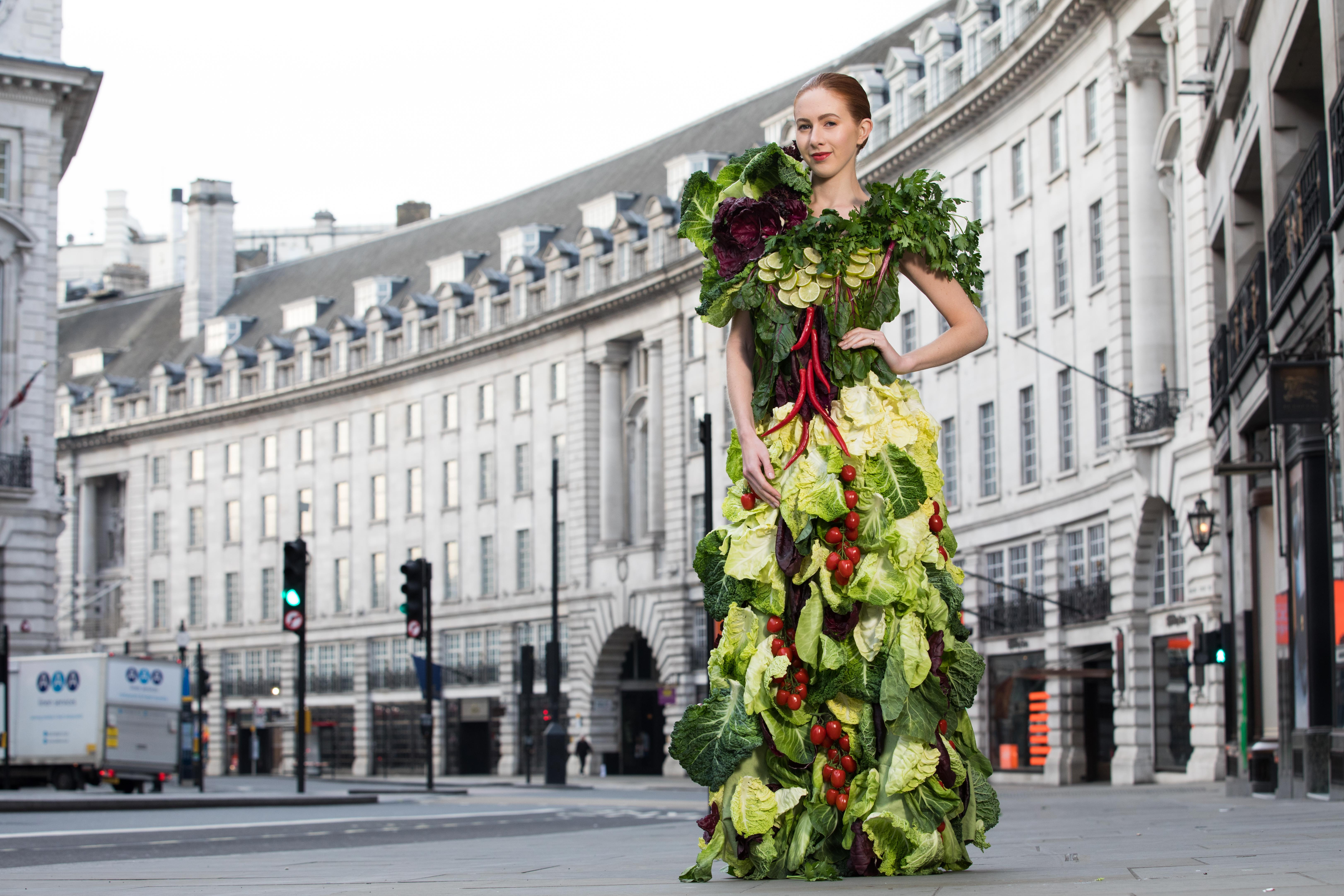 EDITORIAL USE ONLY Scarlett Howard models one of two dresses made entirely from salad ingredients, which have been created to launch the new Greggs summer salad menu, in London's Regent Street. PRESS ASSOCIATION. Picture date: Monday May 22, 2017. The couture inspired salad dresses, which took around 200 hours to create, have been crafted by costume designer Kate Tabor, who has previously made outfits for pop star Katy Perry and the Chemical Brothers. Picture credit should read: David Parry/PA Wire